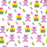 Cute Floral pattern in the small teddy bear. stock illustration