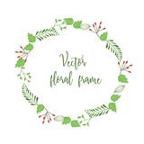 Cute floral round frame with little green leaves and bran. Ches - decorative design for your card or invitation royalty free illustration