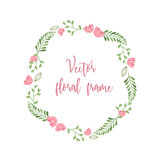 Cute floral round frame with little pink flowers and gree. N leaves and branches - decorative design for your card or invitation vector illustration