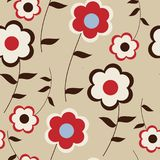Cute floral seamless background with stylized daisies Stock Image