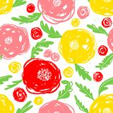 Cute floral seamless pattern. Background with hand drawn flowers. And plants. Colorful vector illustration for surface design, textile and fasion prints with Royalty Free Illustration