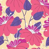 Cute floral seamless pattern. Background with hand drawn flowers vector illustration