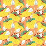 Cute floral seamless pattern. Background with hand drawn flowers royalty free illustration