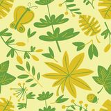 Cute floral seamless pattern. Background with leaves and plants and butterflies. Colorful vector illustration for surface design, textile and fashion prints royalty free illustration