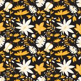 Cute floral seamless pattern. Background with leaves and plants and butterflies. Colorful vector illustration for surface design, textile and fashion prints stock illustration