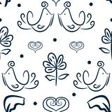 Cute floral seamless pattern with birds, flowers and hearts drawn by hand. Sketch, doodle. Stock Photography