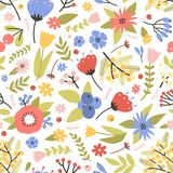 Cute floral seamless pattern with blooming spring plants on white background. Backdrop with motley meadow flowers and. Berries. Flat seasonal vector stock illustration
