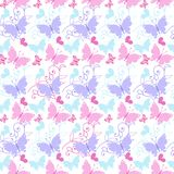 Cute Floral seamless pattern with blue and pink butterflies and hearts. Decorative ornament backdrop for fabric, textile, wrapping stock illustration