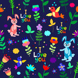 Cute floral seamless pattern with bunnies, birds and flowers Stock Photo