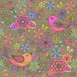 Cute floral seamless pattern c birds and butterflies on a brown background.Seamless pattern with blue, pink butterflies and flower. S. Decorative ornament Royalty Free Stock Photography