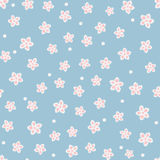 Cute floral seamless pattern. Chaotically placed single abstract flowers and dots. Royalty Free Stock Image