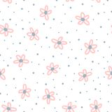 Cute floral seamless pattern for children. Repeated flowers drawn by hand with rough brush and polka dot. Stock Photo