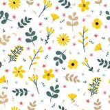 Cute floral seamless pattern with flowers and branches.  Royalty Free Stock Photo