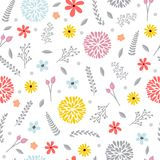 Cute floral seamless pattern with flowers. Spring background. Stock Photography