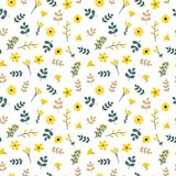 Cute floral seamless pattern with leaves and flowers.  Royalty Free Stock Photography