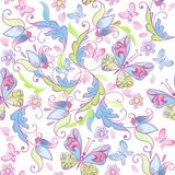 Cute floral seamless pattern with pink and blue butterflies. Decorative ornament backdrop for fabric, textile, wrapping paper royalty free illustration