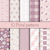 Cute floral seamless patterns collection. Vector illustration can be used for sweet romantic wallpaper, pattern fill surface, web page background. Pattern Royalty Free Stock Photography