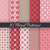 Cute floral seamless patterns. Vector illustration. 10 Cute floral seamless patterns. Vector illustration for beauty design. White, red, green and rose colors Stock Photos