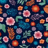 Cute floral seamless texture, repeatable pattern royalty free illustration