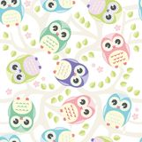 Cute floral seamless vector pattern with owls. Seamless pattern cute baby pastel delicate colors Stock Photo