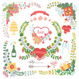 Cute  floral set with wedding elements Stock Photography