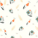 Cute floral spring seamless vector background. Stock Photos