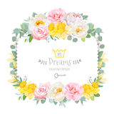 Cute floral square vector design frame with wild rose, narcissus, camellia, peony, green eucaliptus. Pink, white and yellow flowers. Invitation card. All Royalty Free Stock Photography
