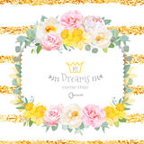 Cute floral square vector design frame with wild rose, narcissus Royalty Free Stock Photography