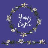 Cute floral tangle  with endless horizontal brush  and handwritten phrase happy easter isolated on the blue background royalty free illustration