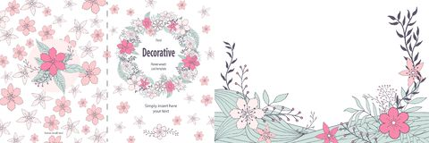 Cute floral two sided greeting card template stock illustration