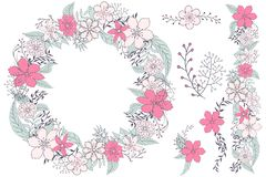 Cute floral vector elements for design cards royalty free illustration