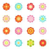 Cute floral vector illustrations in flat style. Flowering icon set of 70s. Colored flower spring isolated on white background stock illustration