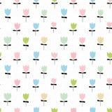 Cute Floral Vector Pattern. Infantile Style Design. White Background. vector illustration