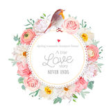 Cute floral vector round card. With white peony, peachy rose and ranunculus, dahlia, carnation flowers, eucalyptus leaf, mixed plants and cute small robin bird Royalty Free Stock Photo
