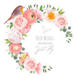 Cute floral vector round frame with ranunculus, peony, rose, green plants. And small bird on white. Peachy, white and yellow flowers. Crescent shape bouquet Stock Image