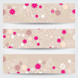 Cute floral web banners Stock Image
