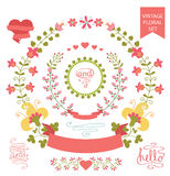 Cute  floral wreath set,Vintage doodles elements.eps. Festive design template set  in Retro style with floral  wreath ,hearts,words,curl, ribbon. For Wedding Royalty Free Stock Images