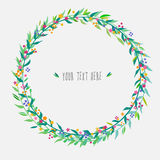 Cute floral wreath. Vector floral wreth with green leaves and small colorful flowers Stock Photos