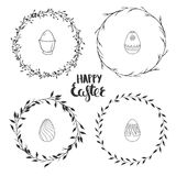 Cute floral wreaths for Easter. Hand drawn floral wreaths isolated on white. Vector spring wreaths and ornamental eggs for Easter Stock Photo