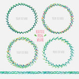 Cute floral wreaths. Set of four vector cute floral wreaths Stock Photography