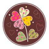 Cute flower as patchwork applique. Stock Photo