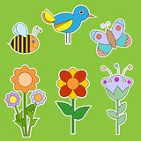 Cute flower, bird and insect collection Royalty Free Stock Photography