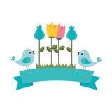 Cute flower with birds decorative icon. Vector illustration design Stock Photo