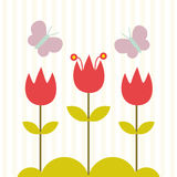 Cute flower and butterfly card design Stock Photo
