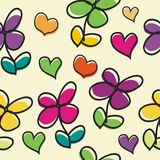Cute Flower cartoon with love Seamless pattern design Stock Photos