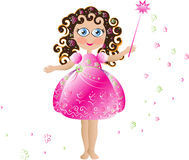 Cute flower fairy. Cute pink flower fairy with pink elegant dress, curly hair and magic wand Stock Images