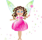 Cute flower fairy. Cute pink flower fairy with pink elegant dress, magic wand and patterned delicate openwork wings Stock Image