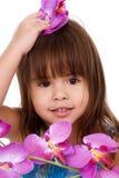 Cute flower girl royalty free stock photo