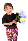 Cute flower girl smiling royalty free stock photography