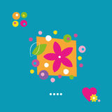 Cute flower heart and dots greeting card Royalty Free Stock Photography